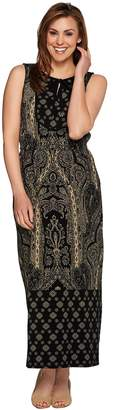 Isaac Mizrahi Live! Regular Engineered Paisley Print Maxi Dress