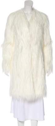 Rachel Zoe Faux Fur Knee-Length Coat