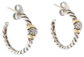 David Yurman Small Diamond Cable Hoop Earrings