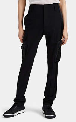 Lanvin Men's Satin-Striped Wool Multi-Pocket Cargo Pants - Black
