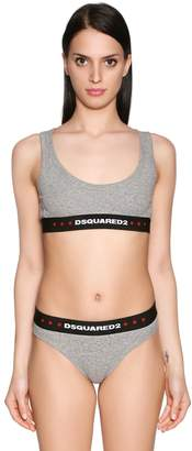 DSQUARED2 Logo Ribbed Cotton Jersey Bra Top