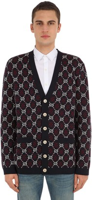Gucci Gg Supreme Logo Jacquard Wool Cardigan