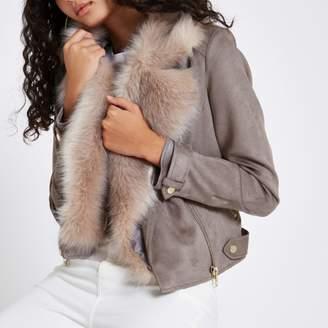 River Island Womens Grey faux suede fur trim biker jacket