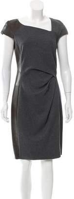 J. Mendel Leather-Trimmed Knee-Length Dress