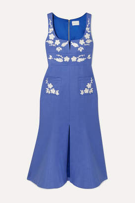 Alice McCall Pastime Paradise Embroidered Cotton Midi Dress - Blue