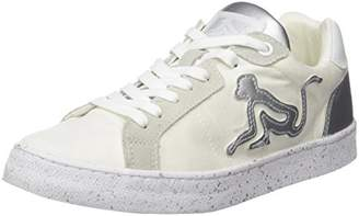 Drunknmunky Women's New England Shiny Trainers, (White-Silver 090)