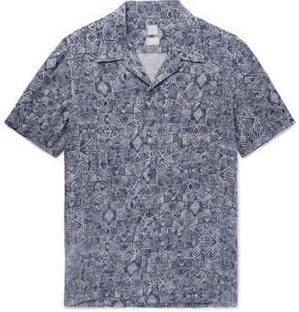 120% Camp-Collar Printed Linen Shirt