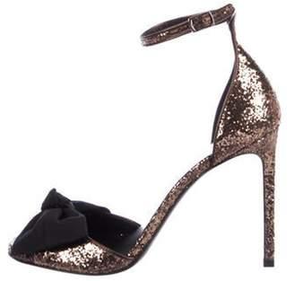 Saint Laurent Bow Glitter Sandals w/ Tags Brown Bow Glitter Sandals w/ Tags