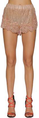 DSQUARED2 Embroidered Silk & Lace Shorts