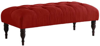 One Kings Lane Stanton Tufted Bench - Red Linen