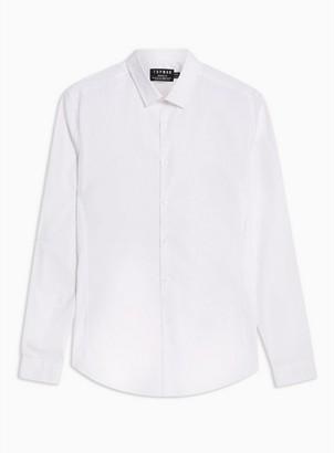 Topman Mens White Stretch Skinny Smart Long Sleeve Shirt