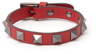 Valentino Rockstud Leather Bracelet - Mens - Red