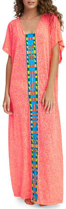 Pitusa Tribal Abaya V-Neck Coverup Maxi Dress