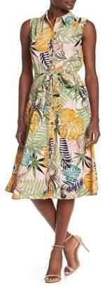 ECI Sleeveless Leaf Print Dress