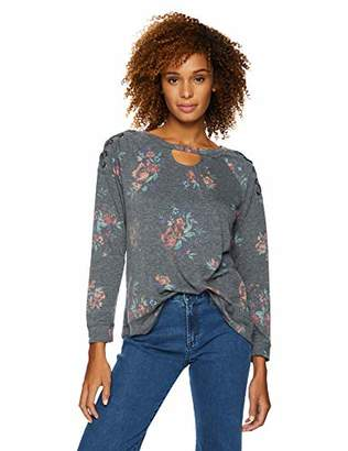 Democracy Women's 3/4 Sleeve Printed Sweatshirt with Lace Up Shoulder