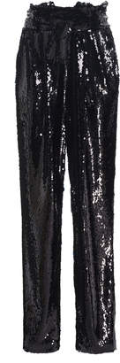 Sally LaPointe Belted Sequined Tapered Pants Size: 2