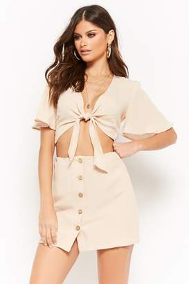 Forever 21 Self-Tie Crop Top & Mini Skirt Set