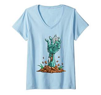 Womens Zombie Hands Golf Ball Funny Halloween Horror Scary V-Neck T-Shirt