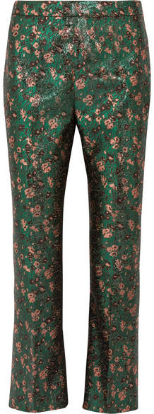 Prada - Metallic Floral-jacquard Flared Pants - Green