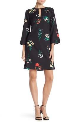 Vince Camuto Floral Print Keyhole Cutout Dress