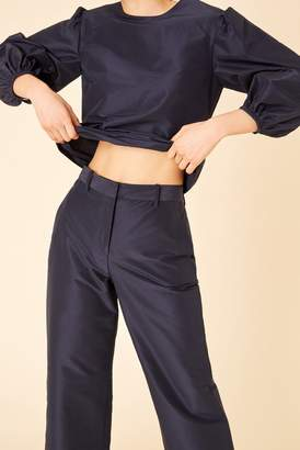 Mansur Gavriel Cotton Silk Taffeta Straight Pant - Blu