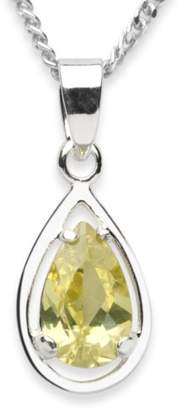 Camilla And Marc InCollections Women's and Children's Pendant 925/000 Sterling Silver with Zirconia Lime Green with Curb Chain 42 CM 2450200028401