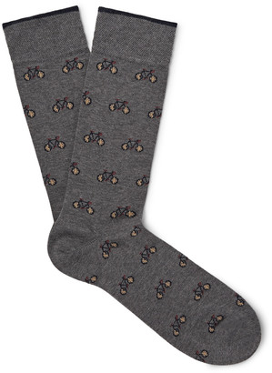 Marcoliani Bicycle-Patterned Merino Wool-Blend Socks $30 thestylecure.com