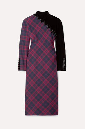 Marc Jacobs Embellished Tartan Wool And Velvet Midi Dress - Purple