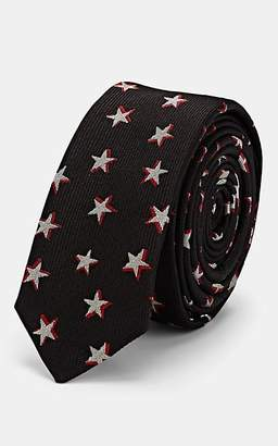 Saint Laurent Men's Star-Pattern Silk Faille Necktie - Black