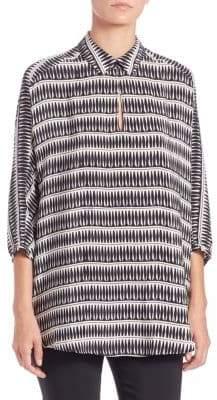 Natori Printed Silk Collared Tunic