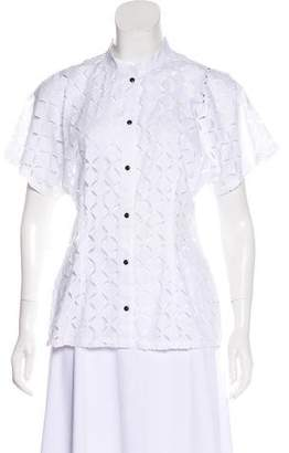 Josie Natori Lace Short Sleeve Top