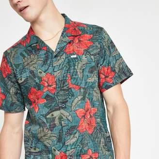 River Island Mens Pepe Jeans dark Green floral print shirt