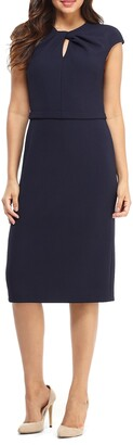 Maggy London Career Keyhole Twist Neck Dress