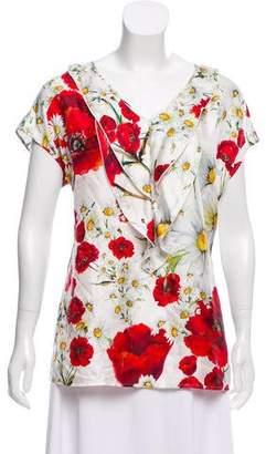 Dolce & Gabbana Floral Print Silk Top w/ Tags