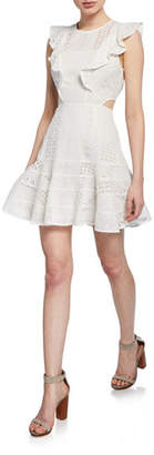 Bardot Melanie Lace Ruffle Short Dress