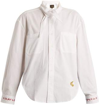 VIVIENNE WESTWOOD ANGLOMANIA Jade embroidered oversized cotton shirt