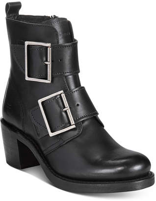 Frye Women's Sabrina Double Buckle Moto Booties Women's Shoes