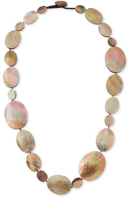 Viktoria Hayman Long Shell Disc Necklace, 44""