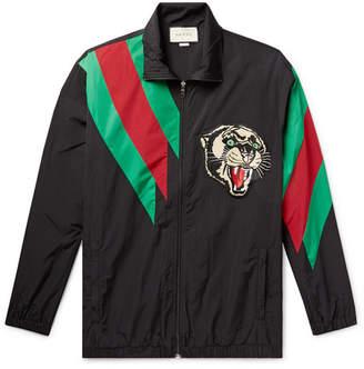 Gucci Appliqued Striped Shell Jacket - Men - Black