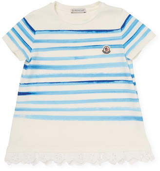 Moncler Striped Eyelet Accented T-Shirt