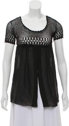 Dolce & Gabbana Short Sleeve Sheer Blouse