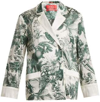 F.R.S – For Restless Sleepers F.r.s For Restless Sleepers - Philotes Palm Print Cotton And Silk Blend Jacket - Womens - Green White