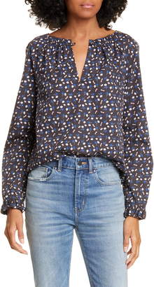Rebecca Taylor Firefly Floral Long Sleeve Cotton Top
