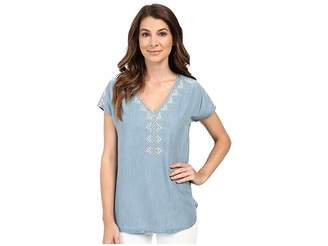 Mavi Jeans Embroidered Denim V-Neck Top Women's Clothing