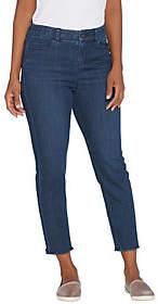 Kelly by Clinton Kelly Petite Crop Jeans withFrayed Hem