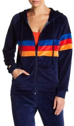 C&C California Velour Stripe Zip Hoodie