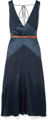 Altuzarra Thursday Belted Silk-blend Satin And Crepe De Chine Midi Dress - Blue