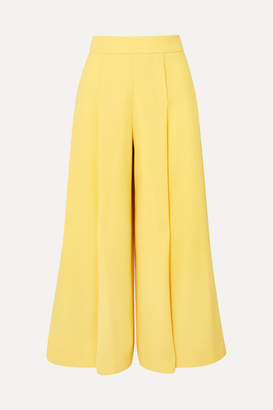 Emilia Wickstead Pleated Wool-crepe Wide-leg Pants - Yellow