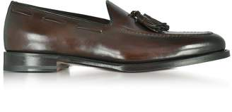 Santoni Wilson Dark Brown Leather Loafer Shoes w/Tassels