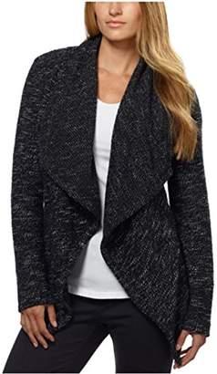 Blanc Noir BNCI Womens Tweed Drape Front Shawl Collar Cardigan (XL, )